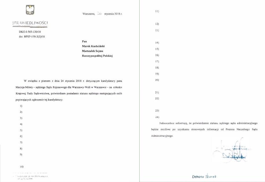 """""""Lista sędziów, popierających Macieja Miterę"""" /Tomasz Skory  /RMF FM"""