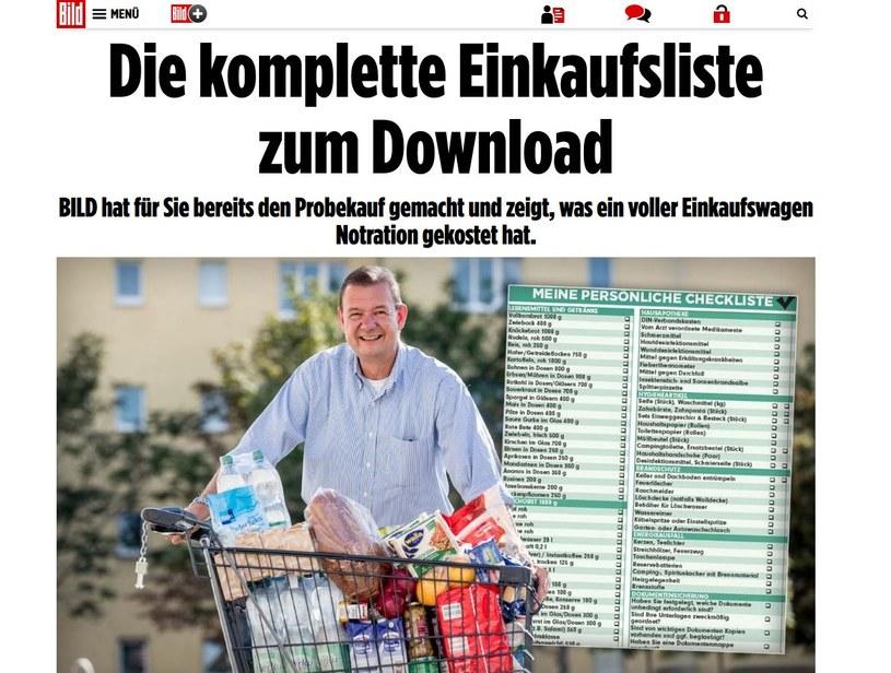 Lista zakupów na wypadek kryzysu według Bilda /http://www.bild.de /