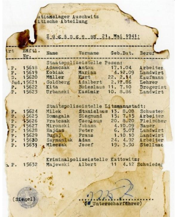 Lista znaleziona w bibliotece w łódzkim liceum /Auschwitz.org /