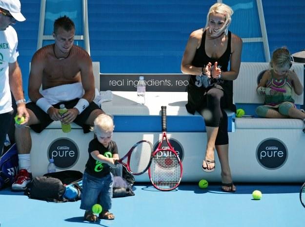 Lleyton Hewitt z rodziną w czasie tegorocznego Australian Open/fot. Scott Barbour /Getty Images/Flash Press Media
