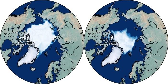 Lód morski w końcówce arktycznego lata 1979 r. (po lewej) i w 2019 r. (po prawej) /Fot. Dirk Notz /materiały prasowe
