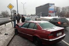 Lód na ulicach Krakowa. Kolizja na Konopnickiej