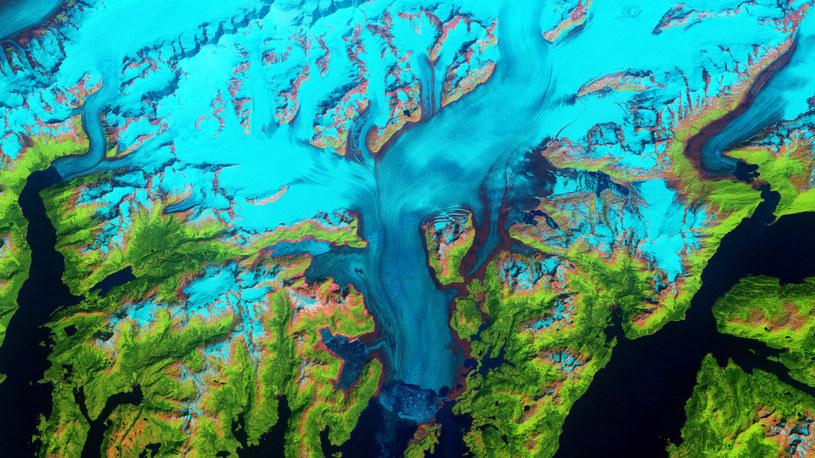 Lodowiec Columbia na Alasce. Większość wody produkowanej przez topniejące lodowce pochodzi właśnie z Alaski /NASA