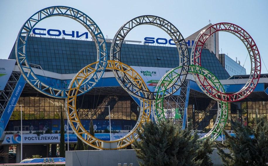 Logo igrzysk przed lotniskiem w Soczi /HANNIBAL HANSCHKE /PAP/EPA