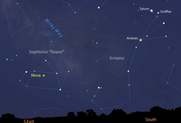 Lokalizacja Nova Sagittari 2015 No.2 - zrzut ekranu z programu Stellarium. /materiały prasowe