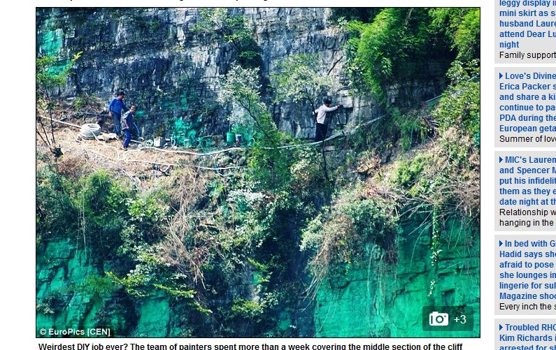 Lokalna stacja telewizyjna pokazała zdjęcia przemalowanej góry /dailymail.co.uk /