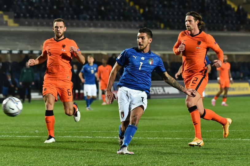 Lorenzo Pellegrini zdobywa bramkę na 1-0 w meczu z Holandią /PAP