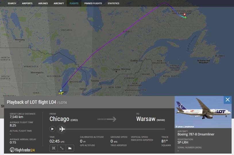 Lot LO4 na Flight Radar /Flightradar24.com /