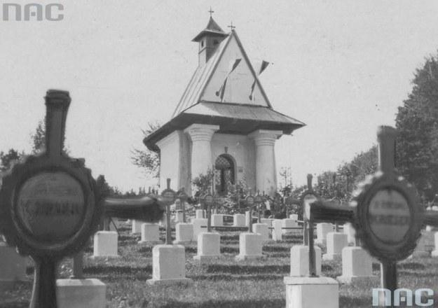 Łowczówek. Fragment cmentarza legionistów /Z archiwum Narodowego Archiwum Cyfrowego