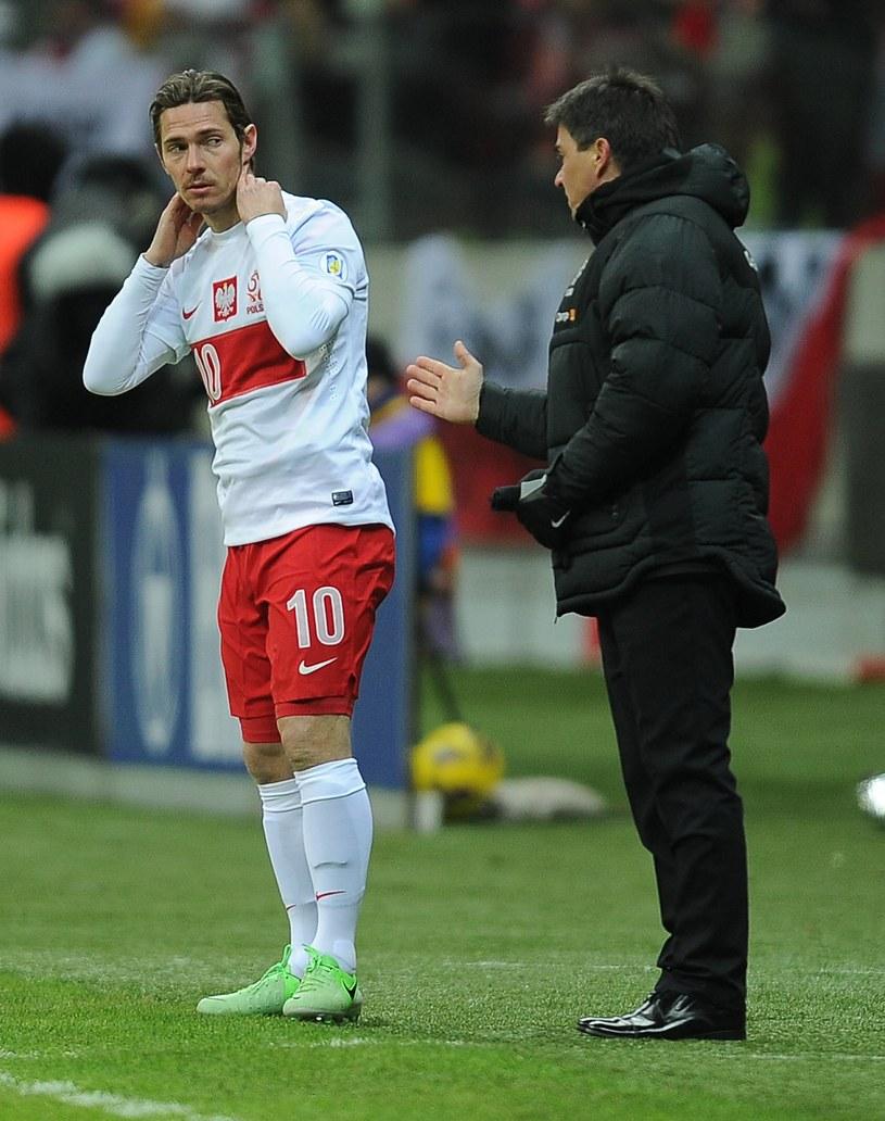 Ludovic Obraniak próbuje odebrać wskazówki od selekcjonera. To była wyjątkowo trudna współpraca... /Marek Biczyk /Newspix