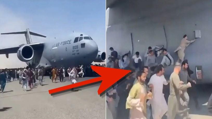 Ludzie próbują wdrapać się na startujące samoloty na lotnisku w Kabulu [WIDEO] /Geekweek