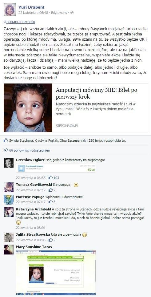 Ludzie w internecie walczą o zdrowe dla małego Rayyana. Akcja zatacza coraz szersze kręgi na portalu społecznościowym /facebook.com