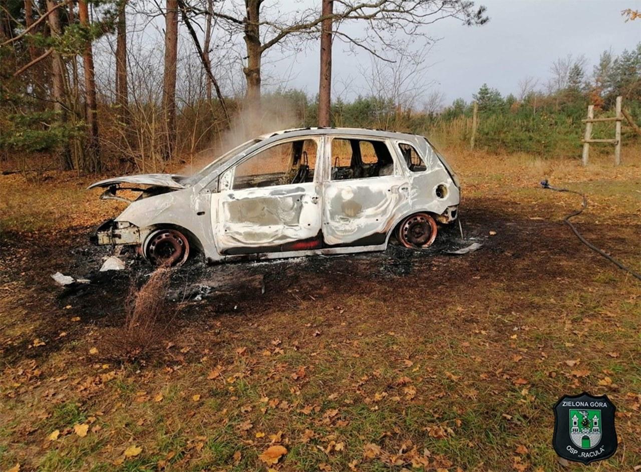 Ludzkie kości znalezione w spalonym fordzie. Auto było ukradzione