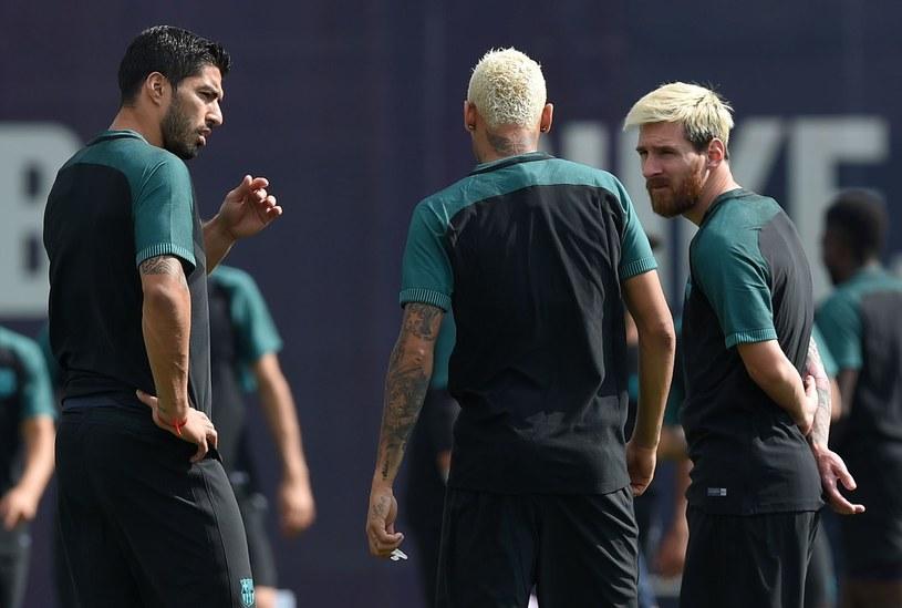 Luis Suarez, Neymar i Messi podczas treningu /AFP