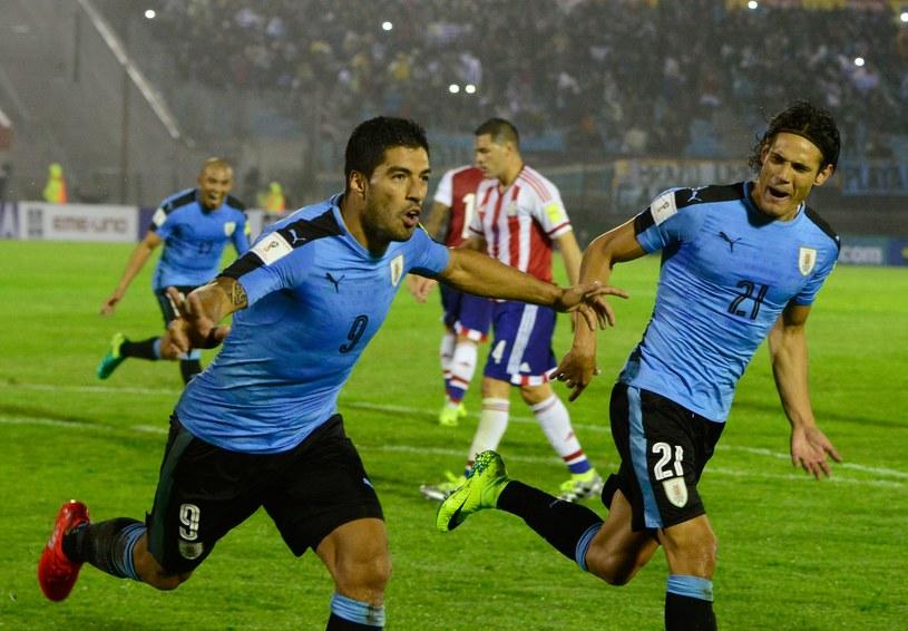Luis Suarez (z lewej) i Edinson Cavani szaleją po golu z Paragwajem /AFP