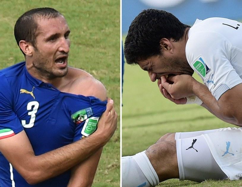 Luis Suarez (z prawej) musi odcierpieć za ugryzienie Giorgia Chielliniego /AFP