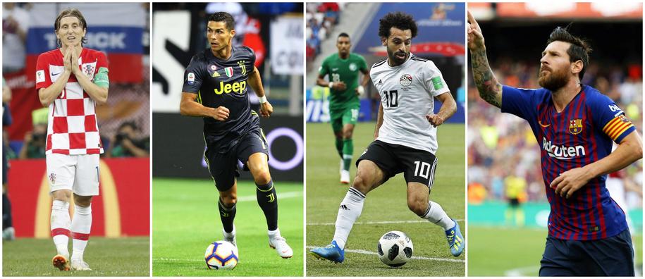 Luka Modric, Cristiano Ronaldo, Mohamed Salah i Lionel Messi /RODRIGO JIMENEZ/SERENA CAMPANINI/SERGEI ILNITSKY/TONI ALBIR /PAP/EPA