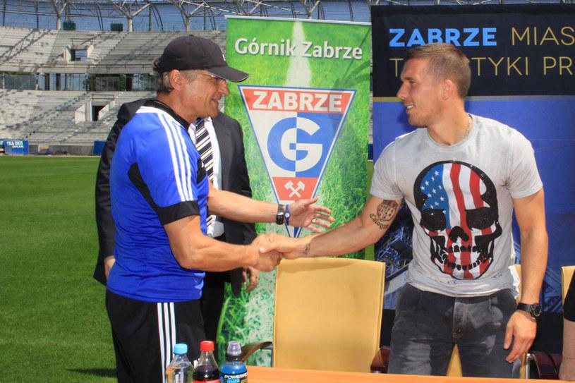 Lukas Podolski i trener Górnika Adam Nawałka /Dariusz Hermiersz /www.gornikzabrze.pl