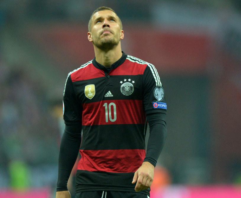 Lukas Podolski podczas meczu z Polską /PAP/EPA