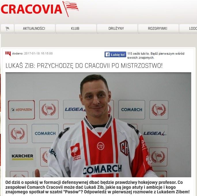 Lukas Zib; źródło: cracovia.pl /
