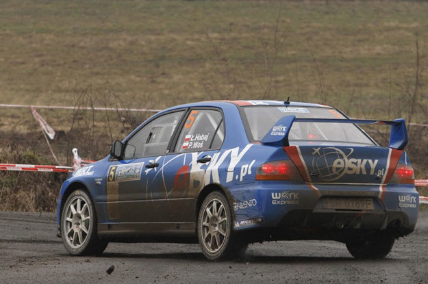 Łukasz Habaj  - Piotr  Woś (Mitsubishi Lancerem Evo IX). Fot. Marek Wicher /INTERIA.PL