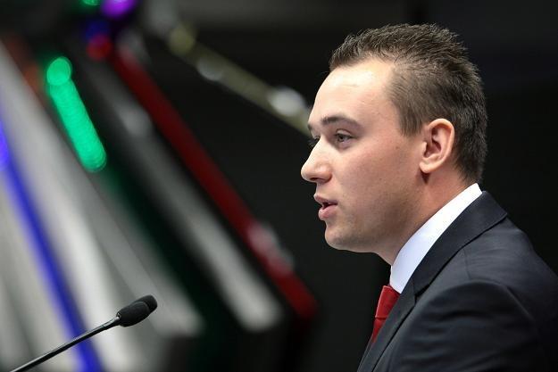 Łukasz Kobyłecki, prezes Super Premium Cars, w czasie debiutu na NewConnect /PAP