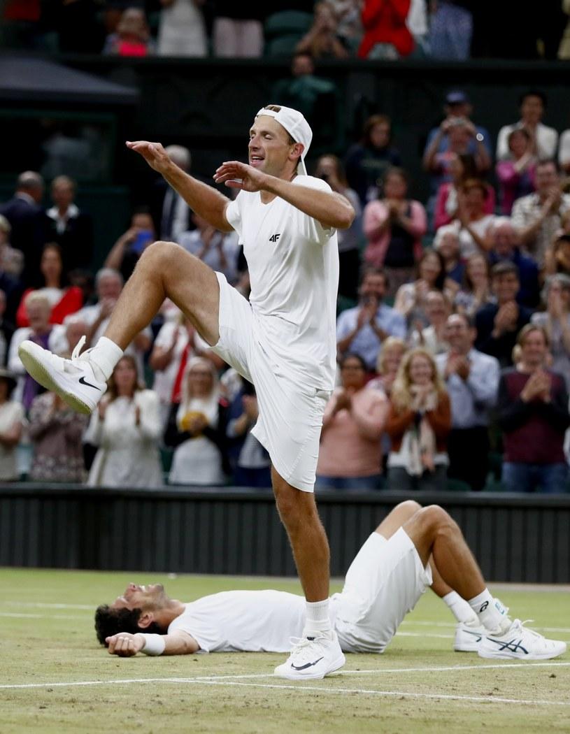 Łukasz Kubot tańczy kankana po finale Wimbledonu /PAP/EPA