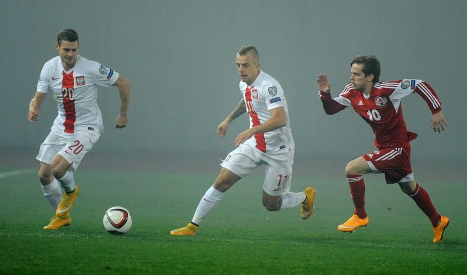 Łukasz Piszczek i Kamil Grosicki w meczu z Gruzją /Bartłomiej Zborowski /PAP