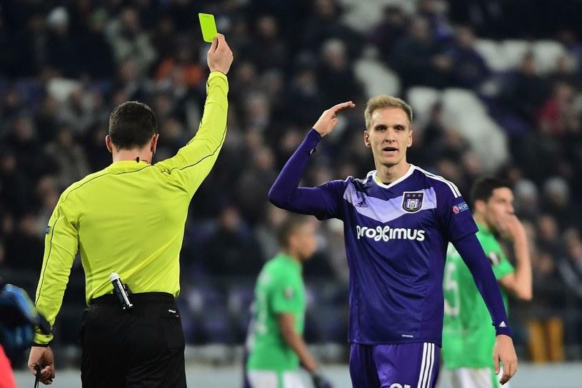 Łukasz Teodorczyk (z prawej) w barwach Anderlechtu Bruksela. /AFP