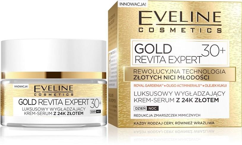 Luksusowy wygładzający krem - serum Gold Lift Expert 30+ Eveline cosmetics /INTERIA.PL/materiały prasowe