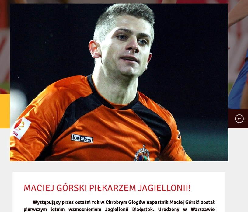 Maciej Górski; źródło: jagiellonia.pl /