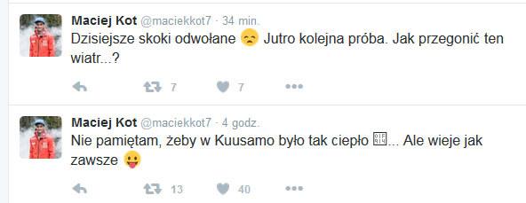 Maciej Kot na Twitterze /INTERIA.PL