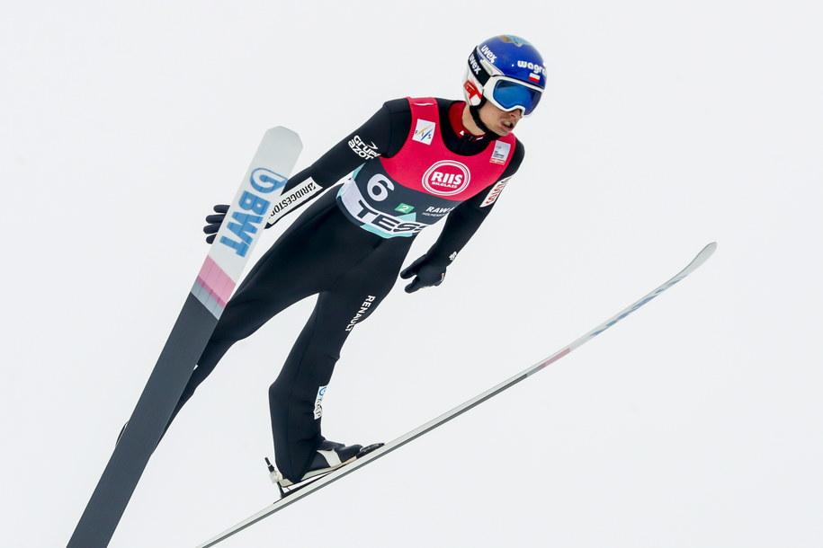 Maciej Kot podczas konkursu w Oslo /Terje Bendiksby /PAP