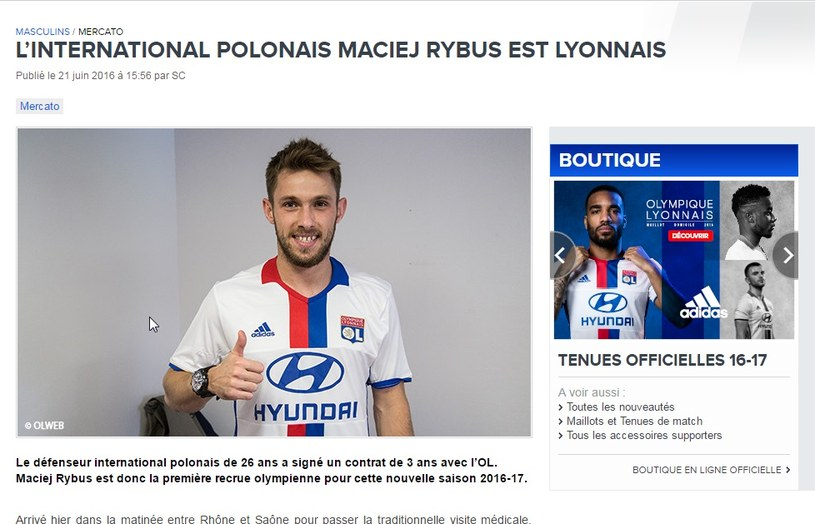 Maciej Rybus piłkarzem Olympique Lyon /Strona internetowa Olympique Lyon /Internet