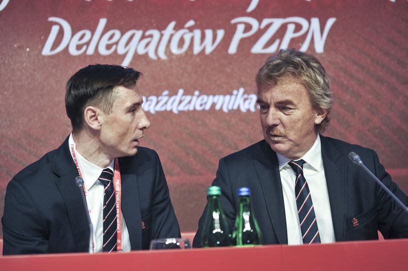 Maciej Sawicki (z lewej) i Zbigniew Boniek, prezes PZPN-u /Bartek Syta /East News
