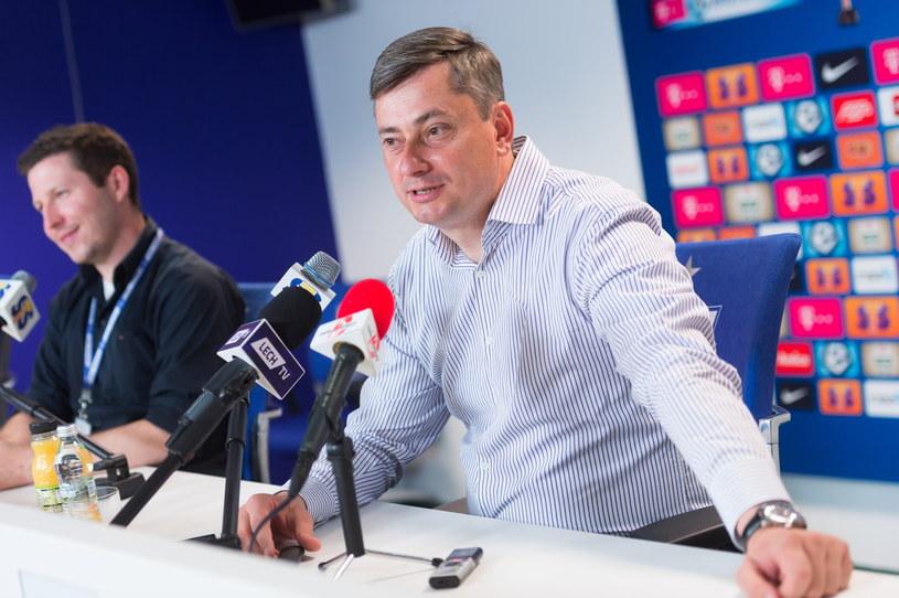 Maciej Skorża na konferencji prasowej podsumowującej sezon /Jakub Kaczmarczyk /PAP