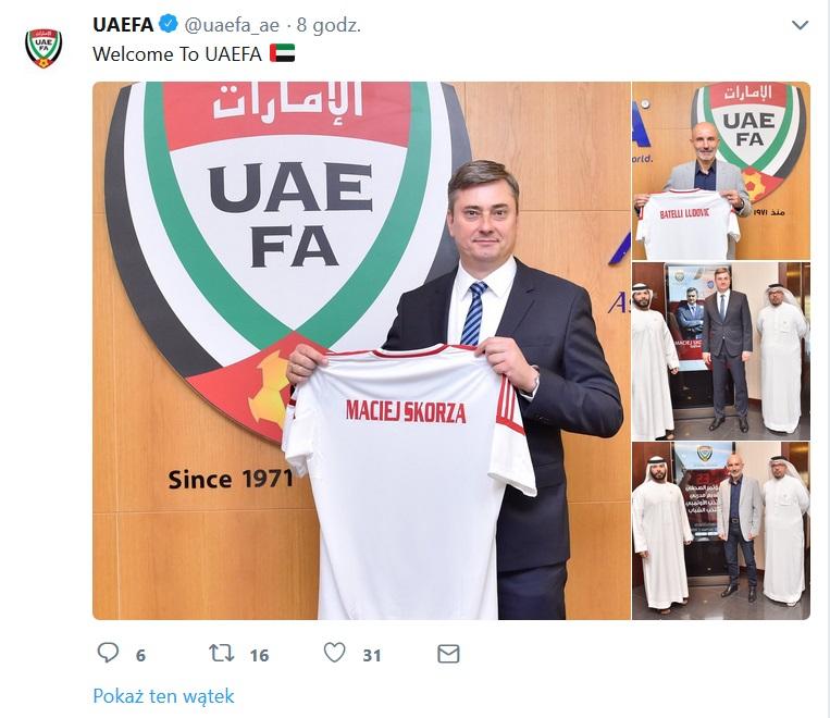 Maciej Skorża zaprezentowany przez federację Zjednoczonych Emiratów Arabskich; źródło: Twitter /