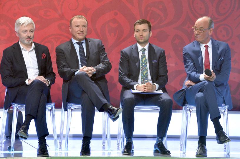 Maciej Stanecki, Jacek Kurski, Hubert Bugaj i Dariusz Szpakowski w TVP na konferencji prasowej dotyczącej mundialu 2018 /AKPA