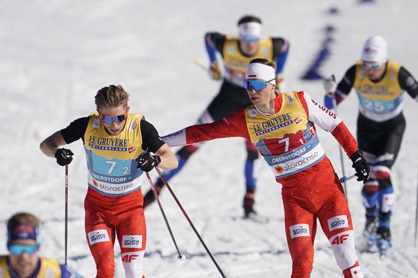 Maciej Staręga i Dominik Bury podczas sprintu drużynowego na MŚ w Oberstdorfie. /Tomasz Markowski /Newspix