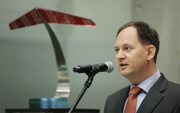 Maciej Stefański, prezes Dektry, podczas debiutu na NewConnect /PAP
