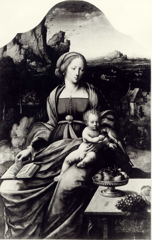 """""""Madonna z Dzieciątkiem i papugą na tle krajobrazu"""" /http://dzielautracone.gov.pl/ /Zrzut ekranu"""