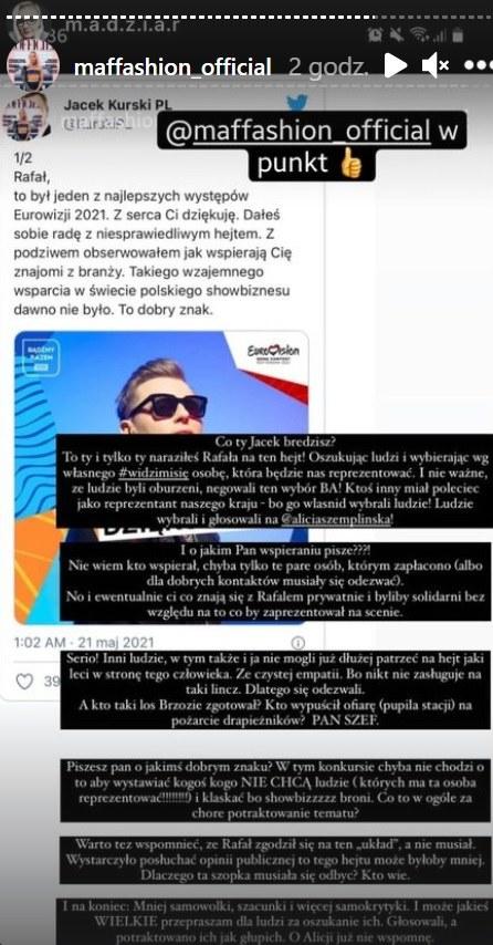 Maffashion dosadnie wypowiedziała się o wpisie Jacka Kurskiego fot. https://www.instagram.com/maffashion_official/