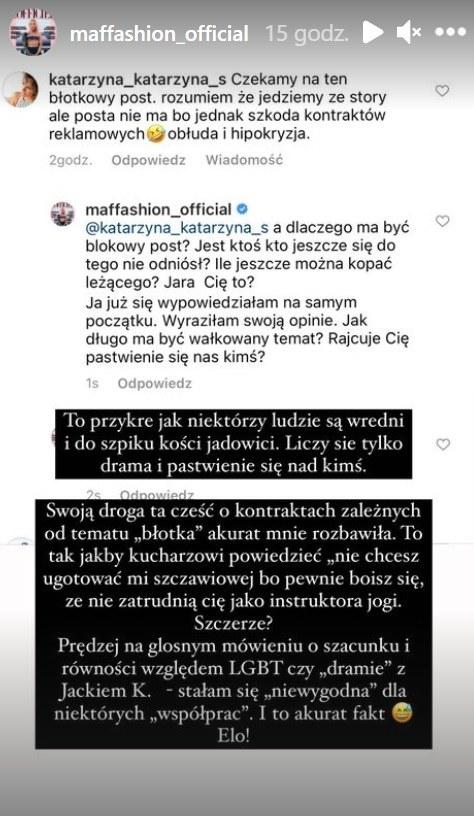 Maffashion zdradziła, że przez konflikt z TVP straciła kontrakty reklamowe fot. https://www.instagram.com/maffashion_official/ /Instagram /Instagram
