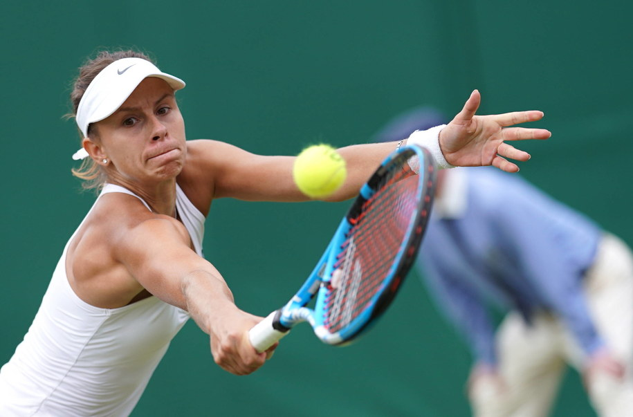 Magda Linette podczas Wimbledonu /NIC BOTHMA /PAP/EPA