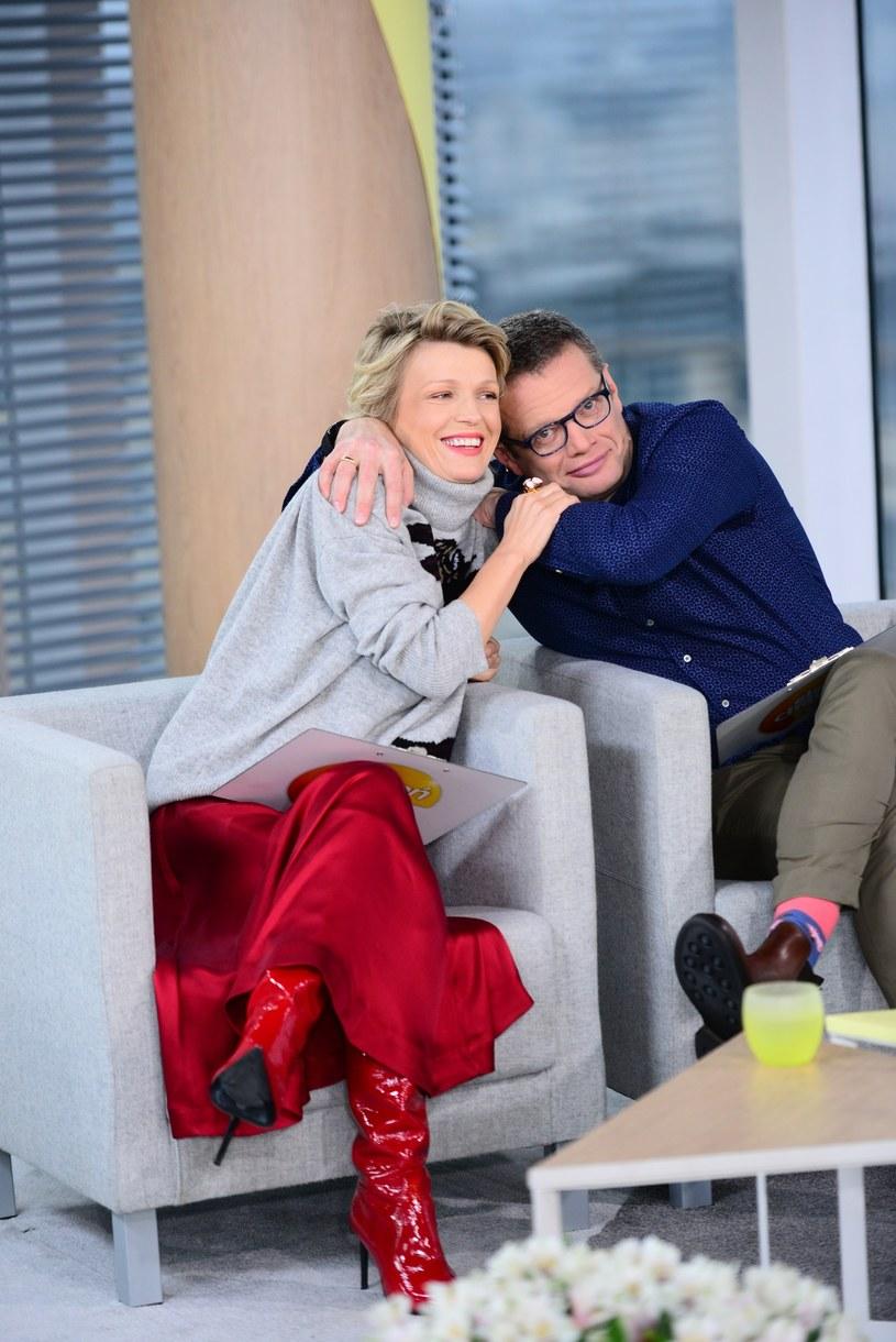 Magda Mołek i Marcin Meller, 2018 rok, fot. Wojciech Olszanka/Dzien Dobry TVN/East News /East News