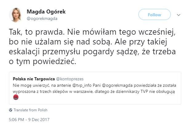 Magdalena Ogórek ofiarą przemysłu pogardy /Twitter