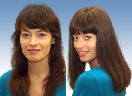 Magdalena Różdżka przed i po zabiegu zagęszczającym włosy /Klinika Handsome Men