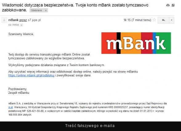 Mail, który otrzymywali klienci mBanku /niebezpiecznik.pl /