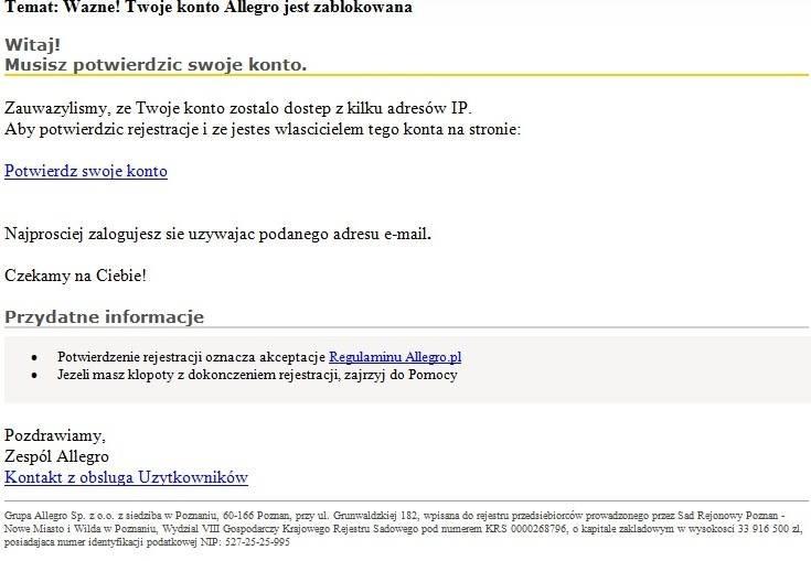Mail od oszustów - klasyczny phishing (łącznie z błędamy). Zdjęcie opublikowane przez Allegro na Facebooku /materiały prasowe