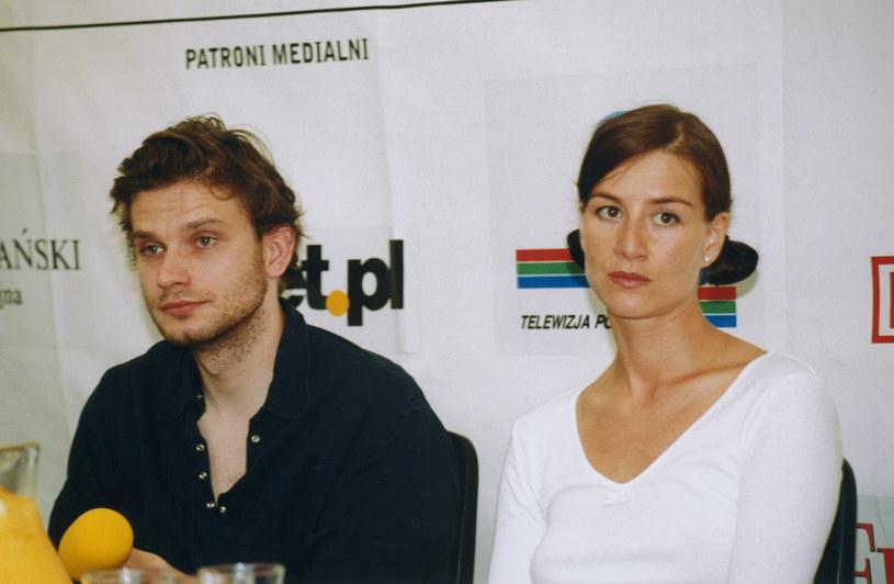 Maja Ostaszewska i Łukasz Barczyk, festiwal w Kazimirzu Dolnym, 2001 /Mikulski /AKPA